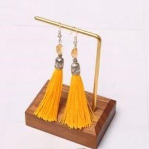 Jewelry - Handmade Silk & Bead Long Tassel Earrings, Yellow